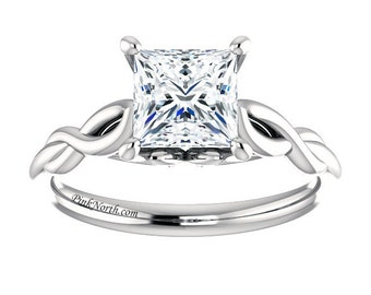 Princess Cut Solitaire Engagement Ring - 1.05ct Forever Brilliant Princess Cut Moissanite