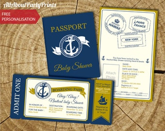 Nautical Boarding passport and boarding pass Invitation-Invitation Printable- JPEG Format printables