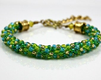 Gold Beaded Bracelet - Braided Kumihimo Bracelet - Braided Bracelet - Beaded Jewelry - Formal Jewelry - Green Bracelet - Summer Jewelry