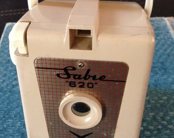 Vintage Sabre 620 Camera in a Putty Tan Color Working Camera Mid Century Box Shape 1950s Retro Photography ON SALE!