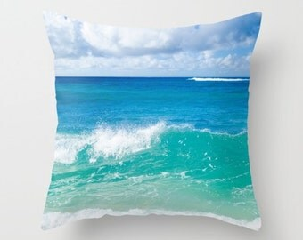 Ocean wave pillow cover, Tropical Pillow Cover, Beach pillow cover, Customized, Sea Bedding, Turquoise pillow, Deep water, Pillow case