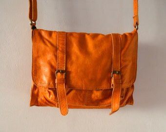Vintage Brown Leather Shoulder Bag  Messenger Bag