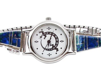 Azurite Navajo Silver Women's Watch,  Native American Watch, Indian Jewelry, amazing handcrafted Watch, gift for mom, free shipping