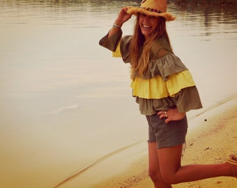 Top with Ruffles bi - colored khaki and yellow bi style Bohemian-boho-hippie-gipsy-gipset
