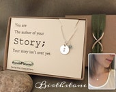 Semicolon necklace w/ birthstone - semicolon jewelry suicide awareness - support - You are the author; your story isnt over yet - depression