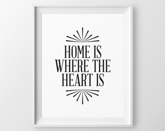 Gift for Mom Home Is Where The Heart Is Family Gift for Christmas Inspirational Quote Bedroom Wall Decor Wall Art Print Inspirational Words
