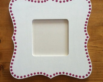 Fuscia Dotted White Instagram-Size Square Hand Painted Picture Frame
