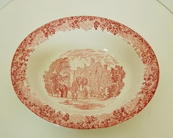 Wedgwood Red Toile Transfer Ware Queen's ware Serving Bowl Warwick