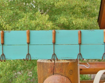 Garden Fork Wall Hanger Distressed Wood Upcycled Potting Shed Wall hooks