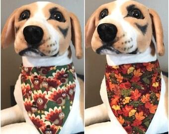 Reversible Slide On Bandana Thanksgiving Pilgrim Turkeys Autumn Fall Leafs & Acorns Over The Collar 2 in 1 Cats Dogs