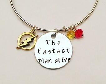 The Fastest Man Alive Flash Barry Allen Grant Gustin Adjustable Bangle Charm Bracelet