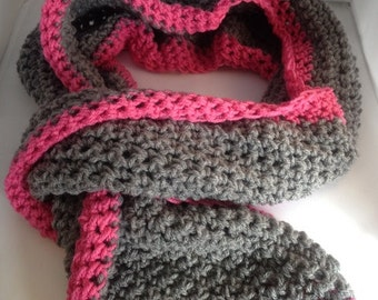 Pink crochet scarf, grey crochet scarf, neck warmer, chunky scarf, crochet knit scarf, gift for women, gift for her