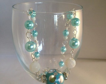 Blue necklace, aqua necklace, beaded necklace, bridesmaid necklace, jewelry gift, christmas gift