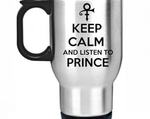 Keep Calm And Listen To Prince Travel Mug Silver Stainless Steel Thermal Car Cup Gift Present Fan Symbol