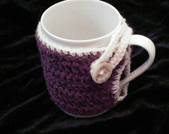 Crochet mug cozy, purple & white with button