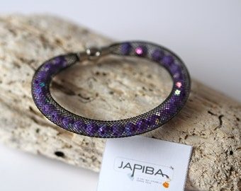 """SALES - 40% - Bracelet in black fishnet / Purple faceted beads / Magnetic clasp - """" It was me who did it! """""""