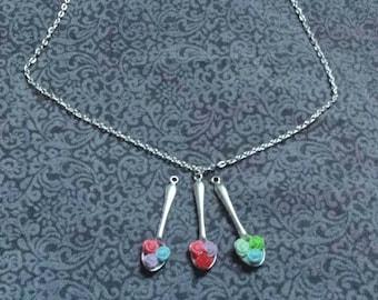 Spoonful of Roses Necklace - Medium length, silver-tone, 3 colorways - Kawaii, lolita, romantic