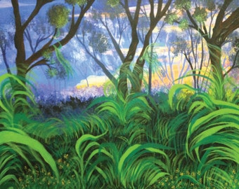 Mesmerizing Jungle's Beauty - Livingroom Art - Original Landscape Acrylic Painting -  Canvas Size 30inx24in (FREE SHIPPING)