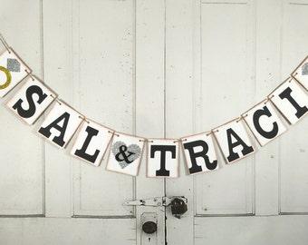 Bride Groom Name Banner, Engagement Banner, Personalized Banner, Wedding Photo Prop, Wedding Garland