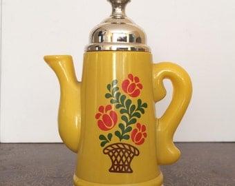 Full! Vintage Avon Bottle Koffee Klatch Field Flowers Bath Foam Teapot