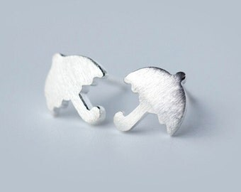 Tiny Umbrella Stud Earring,ER002,Cute Earrings,Brushed Surface Ear Studs,925 Sterling Silver Earrings
