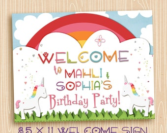 Welcome Sign Unicorn Rainbow Party, Two Unicorns, sisters, friends, twins, Printable, Birthday,  8.5 x 11