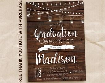 Graduation announcement or invitation, rustic graduation invitation, graduation party, PRINTABLE