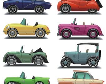 Car Clipart, Car Clip Art, Vintage Car Clipart, Vintage Cars Digital, Old Car Clipart, Printable, Instant Download, Commercial Use, PNG