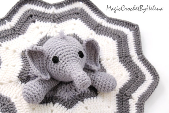 Crochet Elephant Blanket : Elephant Crochet Security Blanket, Crochet Security Blanket , Elephant ...