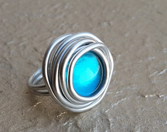 Wrap Ring, Statement Ring, Adjustable Ring, Turquoise Stone Ring, Silver Ring, Unique Ring , Charm Women Ring, Big Ring, Stylish ring.