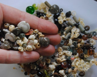 Small Lot Natural Bead Destash Mixed Beads Craft Supplies Jewelry Making Repurpose Mostly Shells Wood Glass