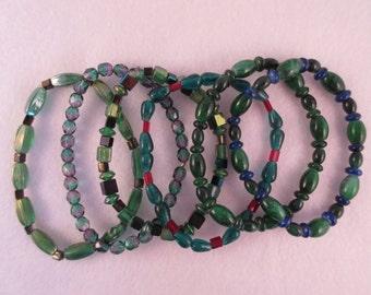 6 Glass Stretch Bracelets