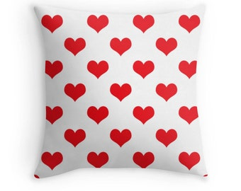 Red Heart Pillow, Red Heart Throw Pillow, Red Heart Pillow Case, Red Heart Bedding, Red Heart Toss Pillow, Red Heart Pillow Cover, Red Decor