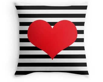 Red Heart Pillow, Stripe Pillow, Heart Pillow Case, Red Heart Pillow, Black White Red Pillow, Red Pillow, Tween Room, Teen Room, Red Bedroom