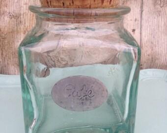 Vintage French Green Glass Coffee Jar