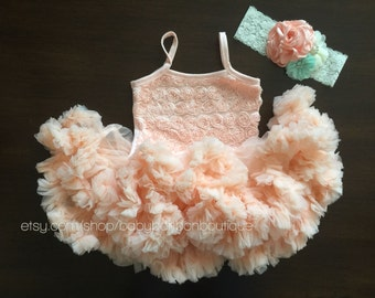 baby girl peach fluffy petti dress and headband, peach ruffled dress, peach flower girl dress