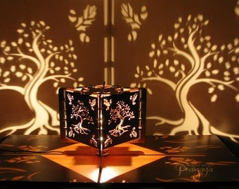 Decorative wood lasercut oak tree shadow lamp, chill, relaxing, fairy lantern, ambiental light, night light for special atmosphere