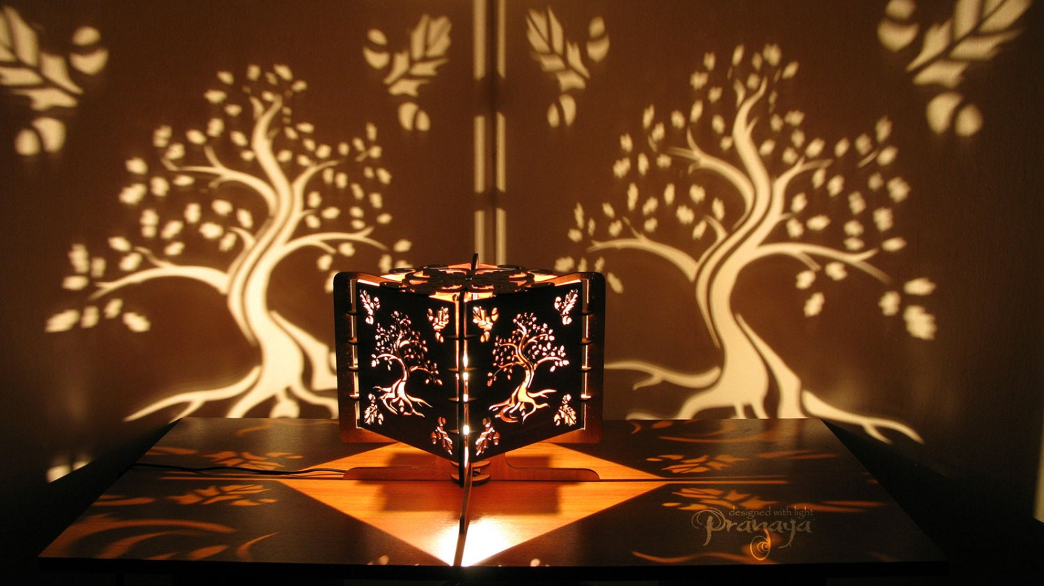Decorative Wood Lasercut Oak Tree Shadow Lamp Chill
