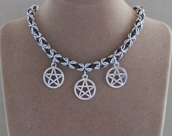 Necklace, Chainmaille, Supernatural inspired, Triple Pentagram Charm Pendant, Byzantine Weave Chain in Black and Silver