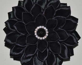 Handmade Girls Flower Hair Clip/Bow in Black, Kanzashi Style, School/Party