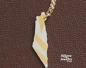 Map of Israel pendant, 24K gold leafs fused with Sterling Silver sheet