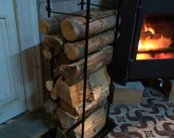 Leñero of design with bars 90 by 30 by 30 cm Firewood rack