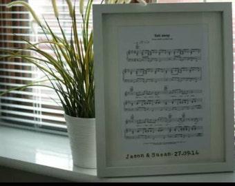 Framed Personalised Bespoke First Dance Sheet Music Anniversary Gift Artwork