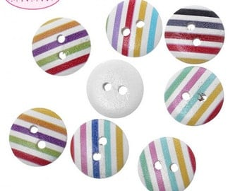 50 buttons stripes Multicolores 15 mm wooden