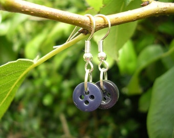 Navy blue button earrings