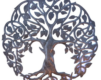 "Tree of Life, Garden Metal Wall Art, Fair trade from Haiti, 23"" X 23"""