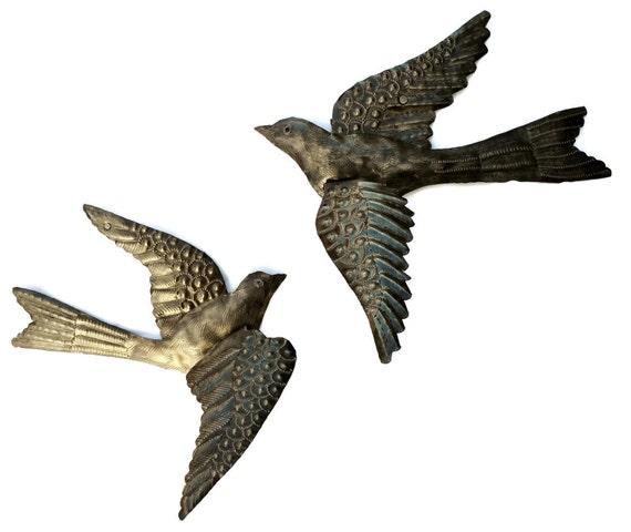 Metal Art Birds, Set of Two Birds, Handmade Wall Art, Haiti Metal Art, Folk Art, Spring Garden, Bird 3-D, Recycled Hammered Steel