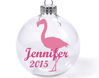 Pink flamingo with Custom Name Date Glass Ball Christmas Ornament
