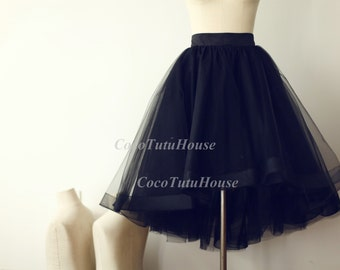 On Sale, Black Hi Low Tulle Skirt /Adult Women Horsehair Tulle Skirt/Wedding Dress Underskirt//Bridesmaid/Bachelorette TuTu