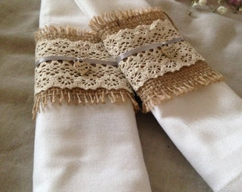 10 x Vintage rustic hessian lace napkin ring